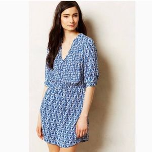 Anthropologie Maeve Galen blue and white dress